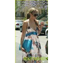 Vestido Estampa Floral Azul/marrom, Cetim, Tam M (importado)
