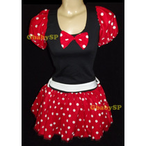 Fantasia Adulto Vestido Minnie Com Tiara E Shortinho Minie
