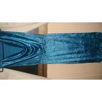 Vestido Em Veludo Cristal Azul Petroleo P/ Festa Tam M