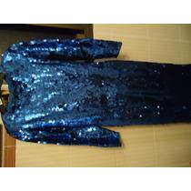 Vestido Todo Em Paetê Azulao Tam P