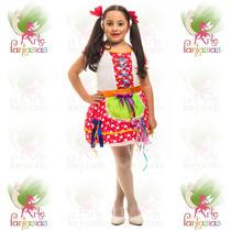 Vestido Junino Infantil Caipira ° Festa Junina ° Flor Verm-c