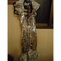 Vestido Estilo Sereia Em Paete Prata Com Luvas - Tam P