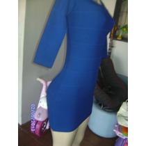 Vn114 - Vestido Azulão Manga Comprida De Bandagem Maneq U