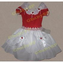 Vestido Moranguinho Infantil Modelo Luxo - Festa Batizado
