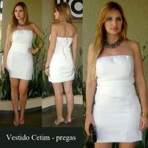Vestido Branco Cetim Tomara Que Caia Reveillon Ano Novo