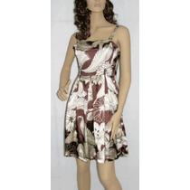 Vestido Estampa Floral Preto/marrom, Cetim Tam M (importado)