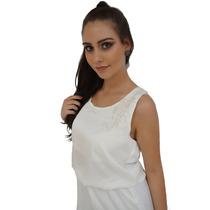 Vestido Com Aplicação De Renda Off White Unna