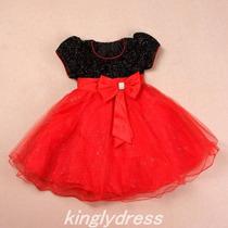 Vestido Infantil Festa Minnie Vermelho E Preto. Com Tiara.