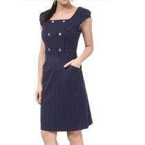 Vestido Listrado Azul Marinho Cotton Colors Extra