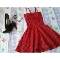 Vestido Vintage Poá Bolinhas Boneca Vermelho/preto