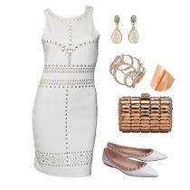 Vestido Tubo Tubinho Basico Justo Colado Tachas Branco