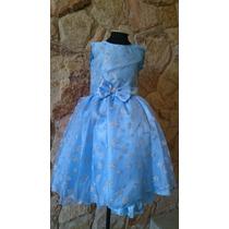 Vestido Infantil Festa/aniversário Elsa,cinderela Azul Prata