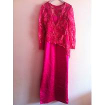 Vestido Mãe Pink Renda Francesa Dourada Importada
