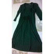 Vestido Verde Musgo Bom Pra Gestante/ Gravida Tam P Serve M
