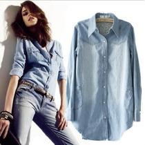 Camisa Feminina Jeans Pronta Entrega Frete Grátis Mercado En