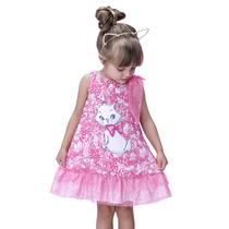Vestido Infantil Gatinha Marie Rosa Com Tulê - Joy By Mor