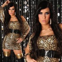 Vestido Curto Preto Com Dourado + Cinto - Pronta Entrega