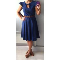 Vestido Algodão Poá Azul Marinho