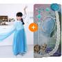 Rainha Elsa Frozen Vestido Longo Fantasia + Acessórios