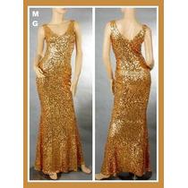 Vestido Paetê Longo Dourado Brilho Madrinha Reveillon M Gg
