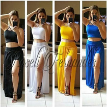 Vestidos Conjunto Cropped Saia Longa Fenda C/short S/renda