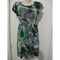 Vestido Em Liganete Verde / Preto Estampado - Tam M