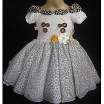 Vestido Fantasia Festa Infantil Oncinha Tema Safari Menina