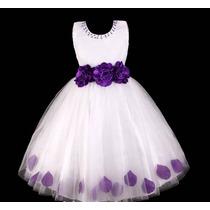 Vestido Infantil/festa/dama/florista Plissado Com Pétalas