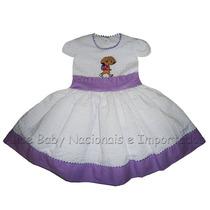 Vestido Festa Dora Aventureira Branco/lilás 1 A 4 Anos