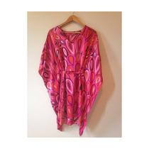 Vestido Kimono Seda Pura Kaftan Estampado Pink