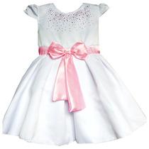 Vestido Infantil Rosa E Branco 2,3,4,5, 6 Anos Lindo