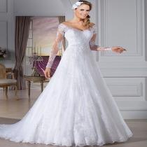 Vestido De Noiva Manga Longa Ótima Qualidade Importado 042