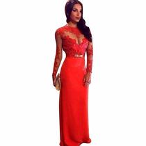 Vestido Longo Com Manga Comprida Vermelho - Lindo - Algodão
