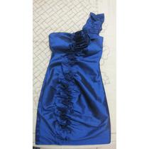 Vestido Festa Ombro Detalhes Florais Lindo Azul
