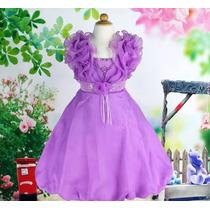 Vestido Infantil Festa/princesa/daminha Flores E Frufru