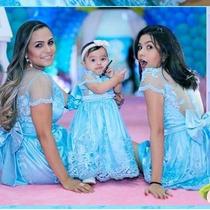 Tmtf2 2604 - Vestido Tal Mãe Tal Filha Azul Tifany 2 Pçs