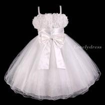 Vestido Infantil Festa Princesa, Daminha, Formatura. Branco