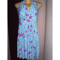 Vestido Feminino Estampado Florido Frente Unica Cor Azul