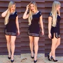 Lindo Vestido Com Detalhe Em Metal Curto Viscolycra Balada