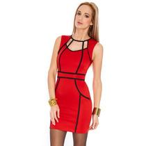 Vestido Preto Vermelho Justo Vintage Retro Pronta Entrega