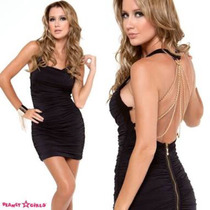 Vestido Planet Girls Preto Com Correntes Douradas P