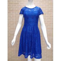 Vestido De Renda Moda Evangélica Azul Vermelho P M G