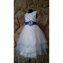 Vestido Infantil Festa/dama/florista Off White Bordado