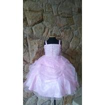 Vestido Infantil Rosa Princesa Flores Florista/festa
