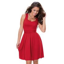 Vestido Curto Decotado Em Helanca Vermelho Pronta Entrega