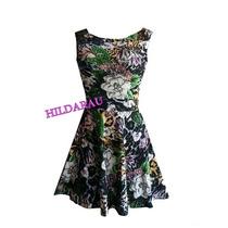 Vestido Viscolycra Estampado Mini Vestido Saia Floral