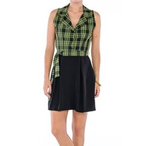 Vestido Belle & Bei Gola De Blazer Xadrez Verde/preto