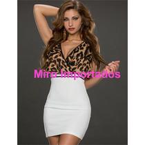 Vestido Leopardo Curto Panicat Balada Festa Tigresa