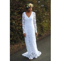 Vestido De Noiva Decote Em V Renda Guipiur - Luxo Sob Medida