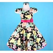 Vestido Infantil Festa Preto Com Estampa Flores Algodão